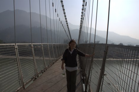 On the hanging bridge in Rishikesh