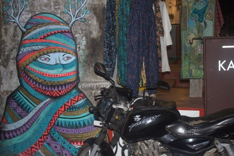 There are signs of the Biennale all around Fort Cochin.