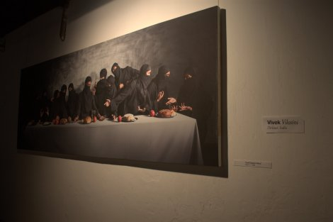 This was my favourite artwork of the day. 'Last Supper-Gaza' by Vivek Vilasini...