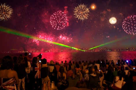 The amazing laser and firework display at Perth Skyworks.