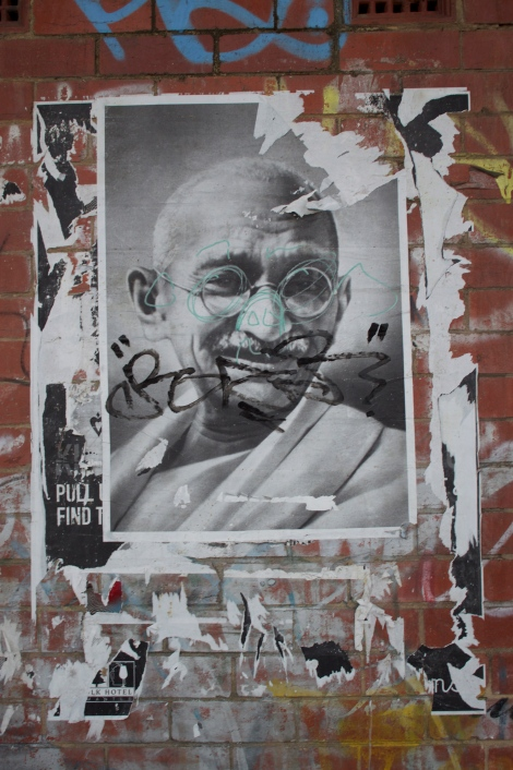 Woolstores - Nice to see Gandhi popping up wherever I go. Even with a big tag on his face he looks happy.
