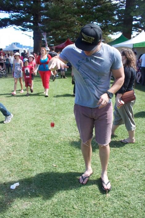 Trying out the new yo-yo.