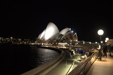The stunning Sydney Opera House at night.