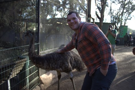 Simon befriending an Emu...