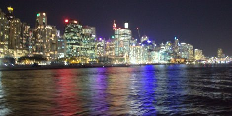 The bright lights of Darling Harbour.