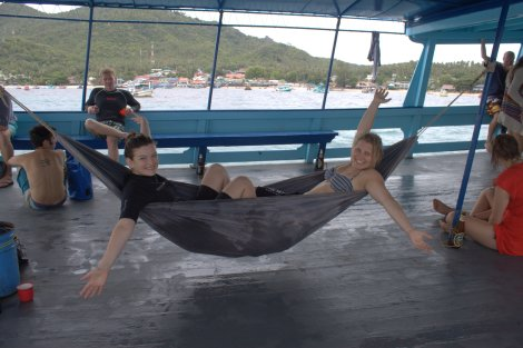The hammock on the Crystal Dive Boat was great after a morning of trying to pull yourself back on board in the waves.