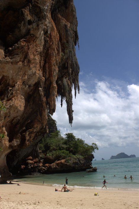 The overhanging limestone by the beach.